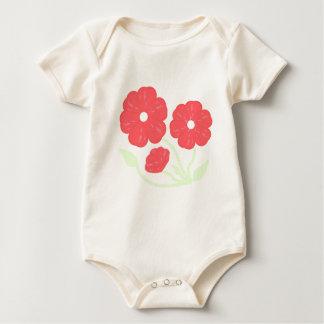 Rosa floral retro mamelucos de bebé