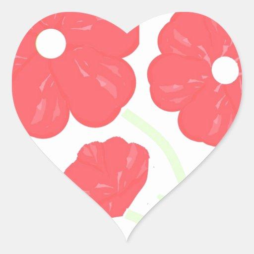 Rosa floral retro pegatina en forma de corazón