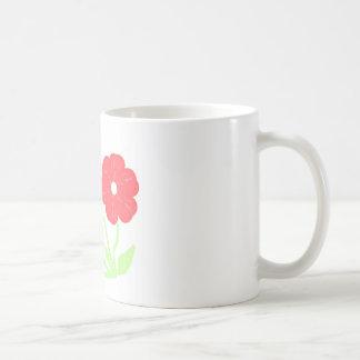 Rosa floral retro taza básica blanca