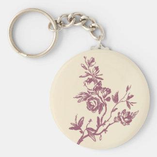 Rosa floral subió vintage y llavero de Borgoña
