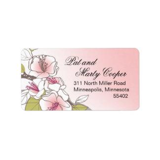 Rosa floreciente de las flores de cerezo etiqueta de dirección