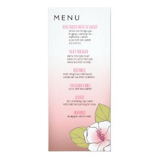 """Rosa floreciente del menú de la cena de las flores invitación 4"""" x 9.25"""""""