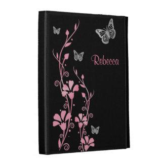 Rosa, folios floral del iPad de la mariposa de pla