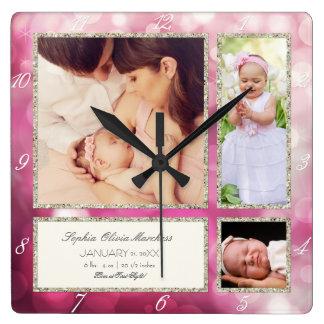 Rosa fotográfico personalizado de la niña del reloj cuadrado