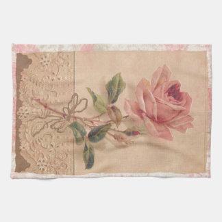 Rosa francés del Victorian subió Toalla De Cocina