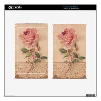 Rosa francés del Victorian subió Skins Para Kindle Fire