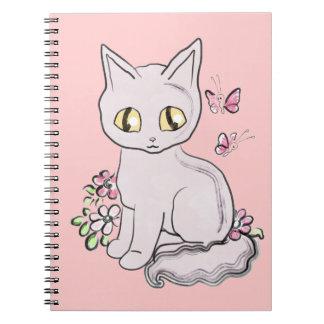 Rosa fresco BG del gato del gatito Libreta