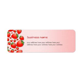 Rosa fresco de la fresa etiqueta de remitente
