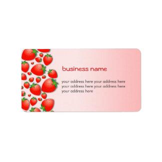 Rosa fresco de la fresa etiquetas de dirección