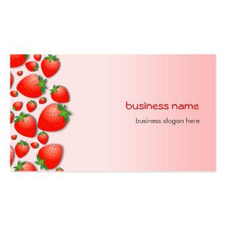 Rosa fresco de la fresa tarjetas de visita
