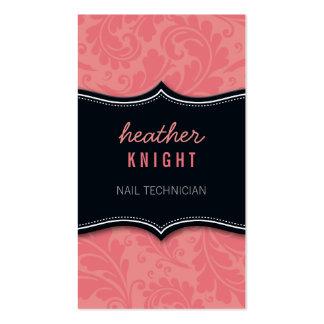 Rosa fresco del coral del negro del flourish de la tarjeta personal