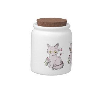 Rosa fresco del gato del gatito jarra para caramelo