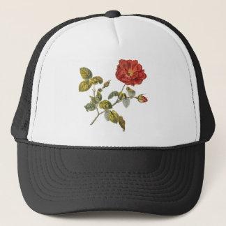 Rosa Gallica Beautiful Red Antique Rose Vintage Trucker Hat