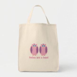 Rosa gemelo de los búhos bolsa tela para la compra