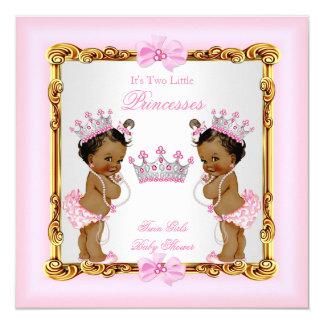 """Rosa gemelo étnico del oro de la princesa fiesta invitación 5.25"""" x 5.25"""""""