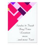 Rosa geométrico de la diversión invitación 12,7 x 17,8 cm