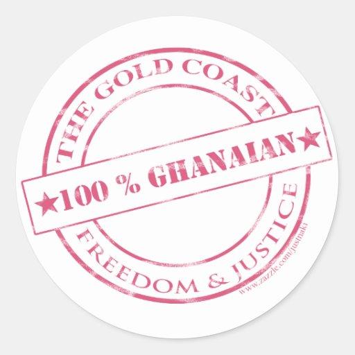 rosa ghanés del 100 por ciento pegatina redonda
