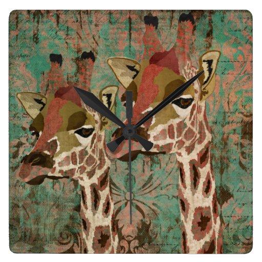 Rosa Giraffes Damask Clock