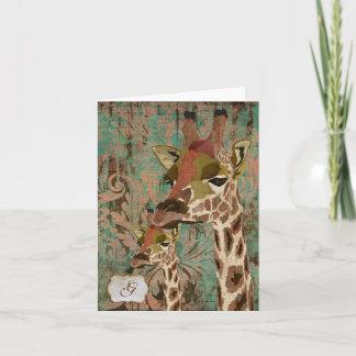 Rosa Giraffes  Damask Monogram Notecard