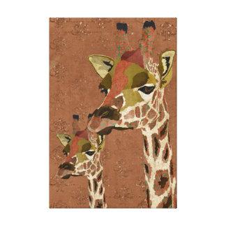 Rosa Giraffes Glitzy Art Canvas