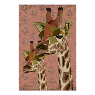 Rosa Giraffes Glitzy  Art Poster