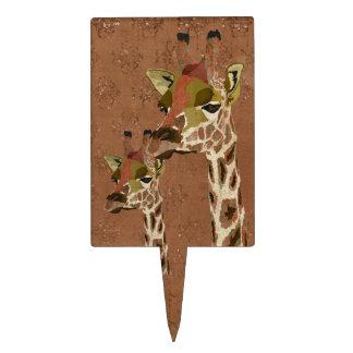 Rosa Giraffes Glitzy Cake Topper