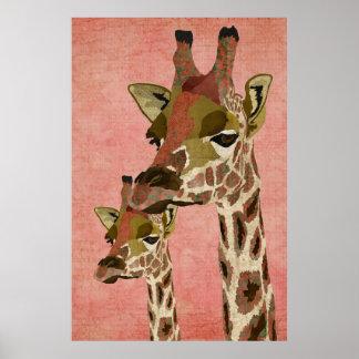 Rosa Giraffes Pink Art Poster