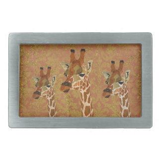 Rosa Golden Giraffes Damask  Belt Buckle