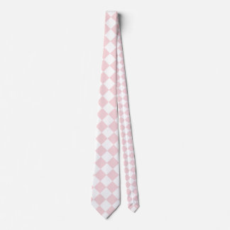 Rosa grande a cuadros de Diag - blanco y pálido - Corbatas Personalizadas