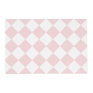 Rosa grande a cuadros de Diag - blanco y pálido - Tapete Individual
