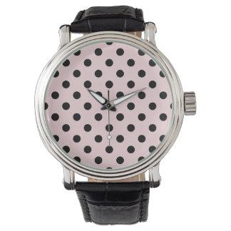 Rosa grande de los lunares - ennegrézcase en relojes de pulsera