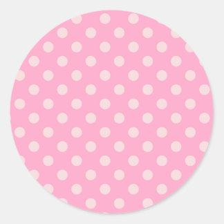 Rosa grande de los lunares - rosa del clavel en pegatina redonda
