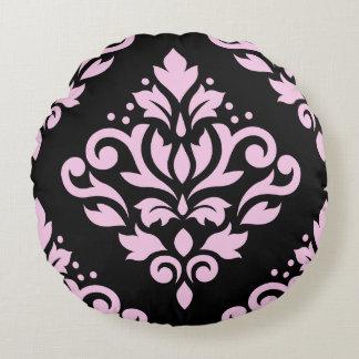Rosa grande del diseño del damasco de la voluta en cojín redondo