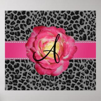 Rosa gris del estampado leopardo del monograma sub posters