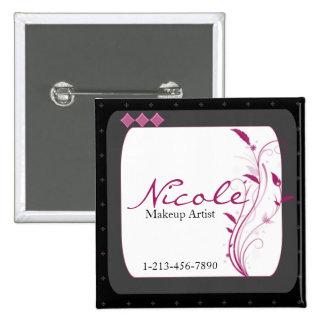 Rosa gris del negro moderno del alto estilo pin cuadrada 5 cm