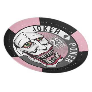 Rosa/gris del póker del comodín plato para fiesta