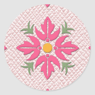 Rosa hawaiano del edredón de la flor del estilo pegatina redonda