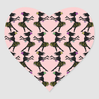 Rosa hawaiano polinesio de los pegatinas del pegatina en forma de corazón