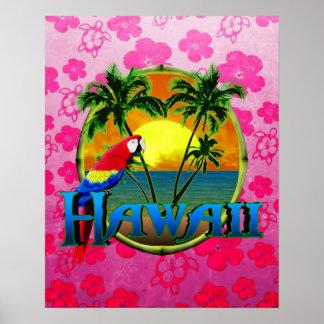 Rosa Honu de la puesta del sol de Hawaii Póster