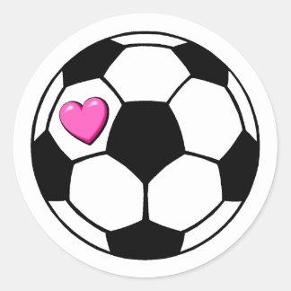 Rosa Hrt del balón de fútbol Etiquetas Redondas