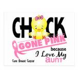 Rosa ido polluelo para mi cáncer de la tía pecho tarjetas postales