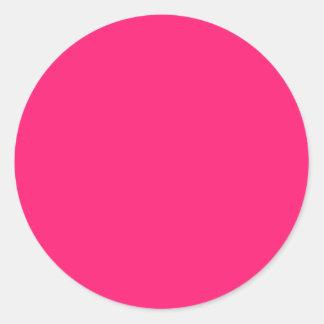 Rosa impactante pegatina redonda