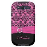 Rosa IMPRESO de la CINTA, caja negra de Samsung S3 Samsung Galaxy S3 Cárcasa