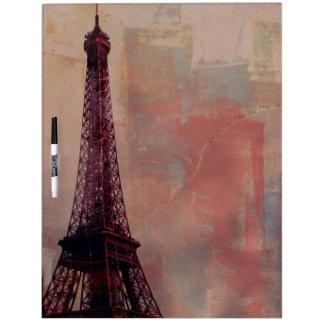Rosa industrial del Grunge de la torre Eiffel de P Pizarras Blancas De Calidad