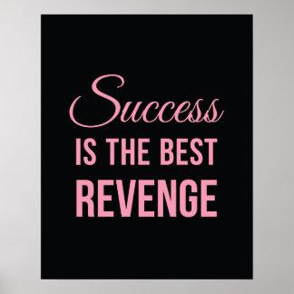 Rosa inspirado del negro de la cita de la venganza póster