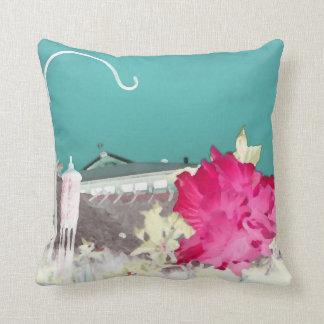 rosa invertido del trullo de la pintura de la flor cojín decorativo