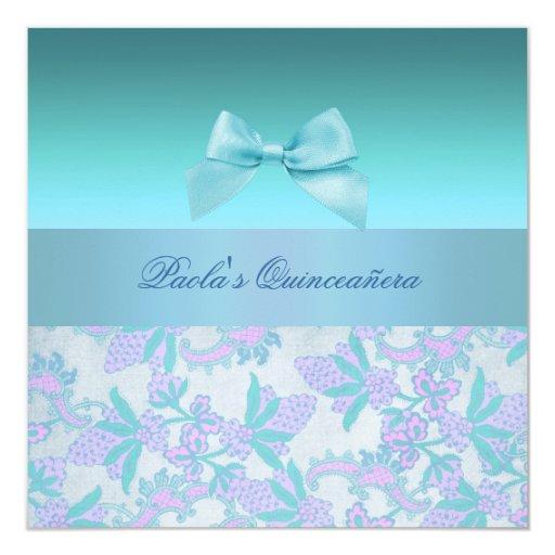 Rosa/invitación azul de Quinceañera del arco y de