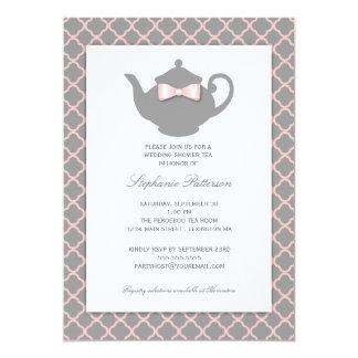 Rosa + Invitación gris del té del boda de