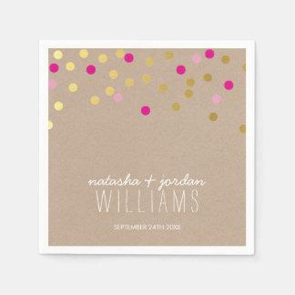 Rosa Kraft del oro de puntos del confeti de la Servilletas De Papel