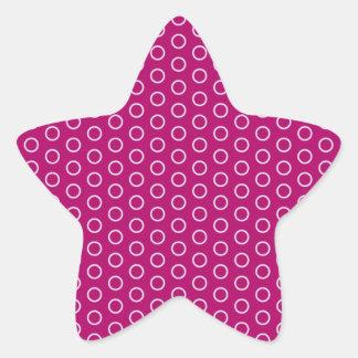 rosa lila puntúa punteado puntuado muster polka pegatina en forma de estrella